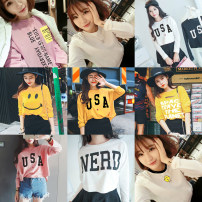 T-shirt 6809 white 6809 black 6081 pink 6081 yellow 6090 pink 6090 yellow 6099 white 6064 white 6064 Pink Average size Fall 2017 Long sleeves Crew neck easy routine commute cotton 31% (inclusive) - 50% (inclusive) 18-24 years old Korean version originality Other / other