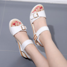 Sandals 32 33 34 35 36 37 38 39 40 41 42 43 White blue black off white Kareni Superfine fiber Barefoot Slope heel Middle heel (3-5cm) Summer 2017 Velcro Korean version Solid color Adhesive shoes Youth (18-40 years old) rubber daily Back space Slope with muffin and platform Roman style Low Gang W9