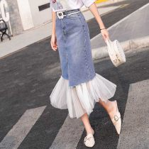 skirt Summer of 2018 S M L XL 2XL blue longuette commute High waist A-line skirt Solid color Type A 18-24 years old 81% (inclusive) - 90% (inclusive) Denim pocket Korean version
