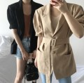 short coat Summer of 2018 Average size Red Khaki black Short sleeve routine Thin money singleton  High waist type commute routine Polo collar Single breasted Solid color 18-24 years old Other / other Button