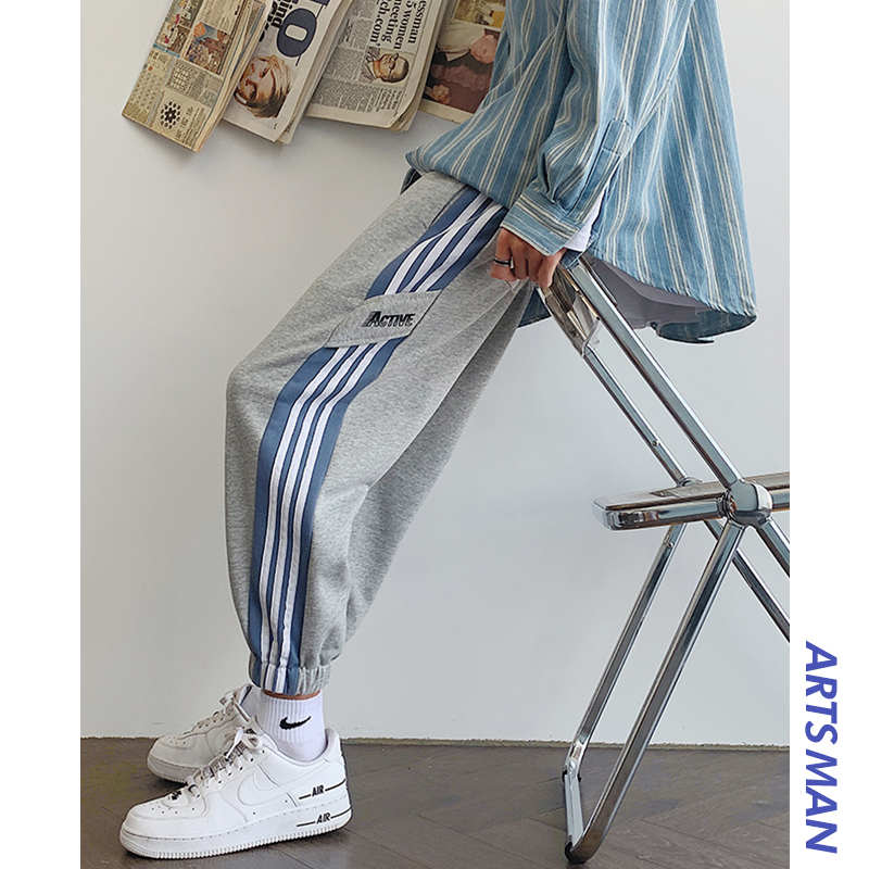 sweatpants  easy M,L,XL,2XL,3XL,4XL teenagers Ninth pants Youth fashion Hong Kong Chai man of literature and art Black, blue, flower grey, black (plush), blue (plush), flower grey (plush) Other leisure autumn tide Plush and thicken 2020 WLY-200929-10 middle-waisted Little feet Micro bomb Alphanumeric