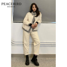 leather and fur Winter 2020 Peacebird Beige S M L XL routine Long sleeves commute square neck routine other Simplicity A1ADA4207 25-29 years old Same model in shopping mall (sold online and offline) Polyester 100%