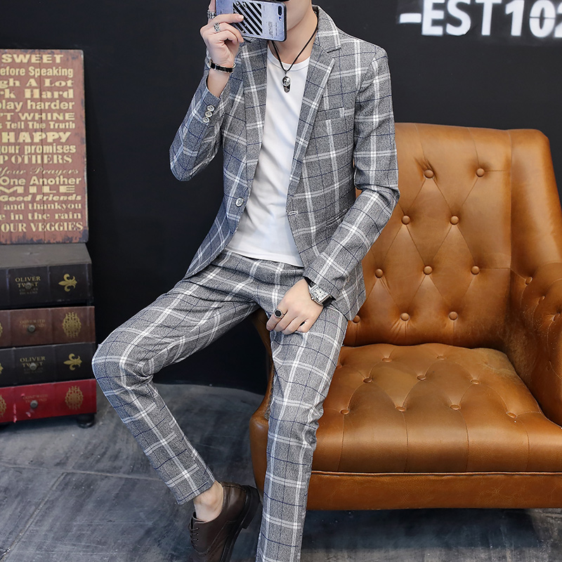 Suit Youth fashion Others Khaki grey blue L M XL 2XL 3XL routine No slits Flat lapel autumn Self cultivation A single breasted button Other leisure youth Youthful vigor Regular collar (collar width 7-9cm) 2018 lattice