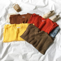 Vest Autumn of 2018 Brown yellow red Camel Average size routine Crew neck commute Solid color 0915K195 I-shaped 18-24 years old 96% and above acrylic fibres