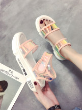 Sandals 35 36 37 38 39 40 Pink White Black Tim Shang plastic cement Barefoot Muffin bottom Middle heel (3-5cm) Summer of 2018 Velcro Korean version Solid color Adhesive shoes Youth (18-40 years old) polyurethane daily Muffin and platform PU R122