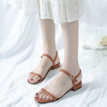Sandals 35 36 37 38 39 Bean paste black apricot Tim Shang PU Barefoot Thick heel Middle heel (3-5cm) Summer of 2018 Flat buckle Korean version Solid color Adhesive shoes Youth (18-40 years old) rubber daily Thick heel belt buckle Low Gang PU R170 Shaving