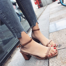 Sandals 35 36 37 38 39 Brown Black Tim Shang Suede Barefoot Thick heel Middle heel (3-5cm) Summer of 2018 Flat buckle Korean version Solid color Adhesive shoes Youth (18-40 years old) rubber daily Thick heel belt buckle Low Gang Hollow PU PU Q185 Frosting