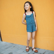 suit Other / other Suspender button Vest Red Blue contrast shorts temperament blue cardigan coat 2A(90cm) 3A(100cm) 4A(110cm) 5A(120cm) 6A(130cm) 8A(140cm) 10A(150cm) female summer leisure time Short sleeve + pants 3 pieces routine There are models in the real shooting Single breasted nothing other
