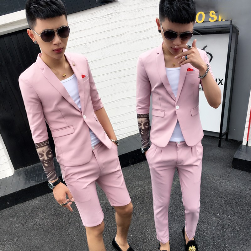 Suit Fashion City Others Pink Shorts Black Shorts Black Pink Warm reminder set version is small l s m XL 2XL thin Back middle slit Flat lapel summer Self cultivation A single breasted button Other leisure youth tide Polyester fiber 93.1% polyurethane elastic fiber (spandex) 6.9% 2018 Solid color