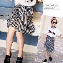 skirt black 110cm 120cm 130cm 140cm 150cm 160cm Other / other female Cotton 100% summer skirt Korean version lattice Irregular cotton DQ05 Class B