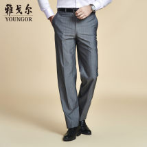 Western-style trousers Youngor Fashion City light gray 190/100A YM1552XW22469-13B Wool 89.8% polyester 10.2% Spring 2016 Same model in shopping mall (sold online and offline) Youngor / Youngor ym1552xw