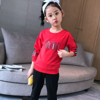 suit Sunsicci / Xuan Shiqi White red 110cm120cm130cm140cm150cm160cm female spring and autumn motion Long sleeve + pants 2 pieces Thin money Socket