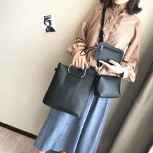 Bag The single shoulder bag PU Child mother bag Wing cloth Pink brown red light grey black dark grey brand new Japan and South Korea in leisure time soft zipper no Solid color Single root One shoulder cross carry nothing youth Bucket shaped Sewing Hard handle Mobile phone bag certificate bag