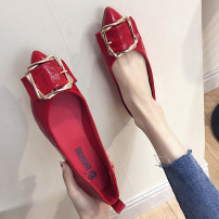 Low top shoes 35 36 37 38 39 Mallard cat Red Khaki black lemon yellow Sharp point Flat bottom PU Shallow mouth Flat heel (1cm or less) PU Summer of 2018 Trochanter Korean version Adhesive shoes Youth (18-40 years old) Solid color rubber Single shoes Shallow mouth PU