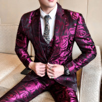 Suit Fashion City Others Rose L 4XL 5XL S M XL 2XL 3XL thin Back middle slit Flat lapel Four seasons Self cultivation A single breasted button Other leisure youth American leisure Polyester 100% Regular collar (collar width 7-9cm) 2018 Bright side Lining technology of general anesthesia Woollen cloth
