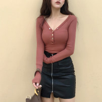 T-shirt Brick red black Average size Autumn of 2018 Long sleeves V-neck Self cultivation Regular routine commute other 30% and below 18-24 years old