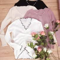 Wool knitwear All code 80-160 jin Fall of 2018 Pink White Black Almond Long sleeve Sleeve Conventional models Single conventional Commuting Self-cultivation conventional Pure color V collar cotton 81% (inclusive) -90% (inclusive) Korean version