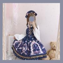Lolita / soft girl / dress The leopard has a cat Cyan full set jsk [deposit] headdress only (BNT full reservation) shirt single skirt [deposit] L M S XL