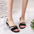 Sandals three hundred and fifty-three billion six hundred and thirty-seven million three hundred and eighty-three thousand nine hundred and forty black Romantic Saturday Suede Barefoot Thick heel Low heel (1-3cm) Summer of 2018 Flat buckle Korean version Solid color Adhesive shoes daily Bag heel