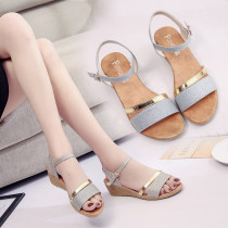 Sandals three billion five hundred and thirty-six million three hundred and seventy-three thousand eight hundred and thirty-nine Silver Gold Romantic Saturday Sequin cloth Barefoot Slope heel Middle heel (3-5cm) Summer of 2018 Flat buckle Korean version Color matching Adhesive shoes daily LDF-0889