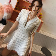 Dress Summer of 2018 White black Average size Short skirt singleton  Short sleeve Sweet V-neck High waist Socket A-line skirt routine Type A Three dimensional decorative beads with tassel, hollow out and diamond inlay solar system