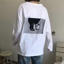 T-shirt white Average size (160 / 84A) Autumn of 2018 Long sleeves Crew neck Straight cylinder Medium length routine commute cotton 96% and above 0153