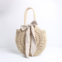 Bag handbag grass Small round bun Other / other Black Beige brand new Sweet Lady  large leisure time soft other yes Solid color Single root nothing youth Round bag Hollowing out Hard handle polyester fiber Jam Bowknot Crochet