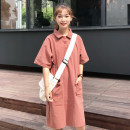 Dress Summer of 2018 Average code Red almond Long skirt Commuting Single Short sleeve POLO collar Pure color Loose waist Three buckles other Type A