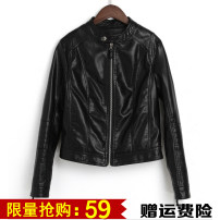 leather clothing Spring 2017 Black extra-thick black SML XL 2XL 3XL Other/others Short paragraph Self-cultivation Long sleeve zipper Commuting Standing collar conventional Washed leather PU