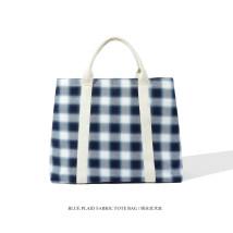 Bag The single shoulder bag canvas Tote Bag 007 Blue check One shoulder hand Mobile phone bag certificate bag