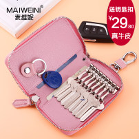 key case cowhide MAIWEINI Small black small pink small crystal powder small piece red small light blue small smoked purple large black large pink large crystal powder large piece red large light blue large smoked purple brand new zipper Solid color Japan and South Korea juvenile letter Card and key