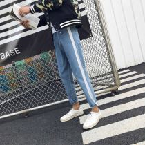 Jeans Youth fashion Others S M L XL 2XL Light blue black routine No bullet Regular denim 8087# trousers Other leisure Four seasons teenagers 2017
