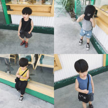 Vest sling 1y (80cm) 2Y (90cm) KK try on 3Y (100cm) 4Y (110cm) 5Y (120cm) 6y (130cm) 7Y (140cm) Gray yellow blue black Sleeveless summer Yuner's mother male There are models in the real shooting leisure time Solid color Crew neck nothing Pure cotton (95% and above)