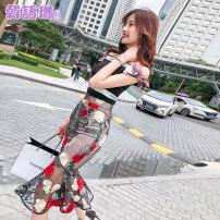 skirt Summer of 2018 SML Decor Mid length dress commute High waist skirt Decor Type A 25-29 years old TX12937 Korean Lin space Flounce screen stitching printing Korean version Polyamide fiber (nylon) 100% Pure e-commerce (online only)