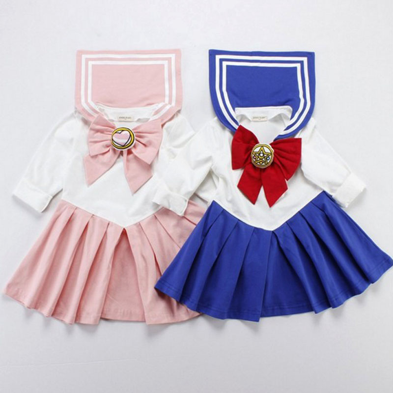 Dress Pink short sleeve Suit Blue Navy Pink royal blue Other / other female 80cm 90cm 100cm 110cm 120cm 130cm 140cm Cotton 95% other 5% spring and autumn princess Long sleeves Cartoon animation Pure cotton (100% cotton content) Pleats Beautiful girl warrior Costume Class A