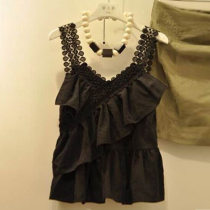 Vest sling Summer 2017 black S M L XL singleton  routine Self cultivation Sweet camisole Solid color 25-29 years old 91% (inclusive) - 95% (inclusive) Cotton ammonia 08110 Asymmetric pleated zipper with fringes and ruffles