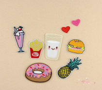 Cloth stickers Meihong love big red love hamburger milk pineapple doughnut French fries drink group of eight