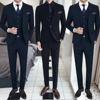 man 's suit Youth fashion Black (suit + Vest + pants) Novartis routine L CNH10737 Polyester 68% viscose 29% polyurethane elastic 3% Autumn of 2018 Pure e-commerce (online only)