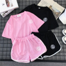 Casual suit Summer of 2018 010 # pink 010 # black 9030 # white 9030 # black 9030 # pink 9005 # stripe M L XL XXL 18-25 years old thirteen thousand five hundred and twenty-nine 96% and above polyester fiber
