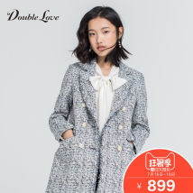 woolen coat Summer of 2018 2/S3/M4/L5/XL blue routine Long sleeves commute other routine Straight cylinder Korean version DFDPW1105A DOUBLE LOVE 25-29 years old Tweed Polyester 39.1% cotton 32.4% polyacrylonitrile 18.7% viscose 8% others 1.8%