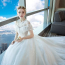 Wedding dress Summer of 2018 Shoulder to shoulder wedding dress white shoulder tailing wedding dress white SMLXLXXL3XL4XL court Long tail Bandage Hotel Interior One shoulder Lace Three dimensional cutting YL18040301 middle-waisted 18-25 years old Sequins Sleeveless shawl Elagamo Large size