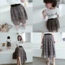skirt Chiffon Plaid Mama s Mama m Mama l Mama XL 80cm 90cm 100cm 110cm 120cm 130cm Other / other female Cotton 100% summer skirt Korean version lattice A-line skirt
