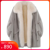 leather and fur Autumn 2020 Gezixing Light green pink grey L S M routine Long sleeves commute square neck bishop sleeve zipper Rex rabbit hair Korean version GZH801 25-29 years old Pure e-commerce (online only) Rex rabbit hair