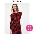 Dress Spring of 2018 Dark red S (165/84A)M (170/88A)L (175/96A) Middle-skirt singleton  Long sleeves commute Crew neck Broken flowers Socket other ZARA