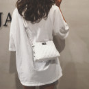 Bag The single shoulder bag PU Small square bag Xiao Cun Xiu White Silver Green Black brand new Japan and South Korea Small leisure time soft zipper no Solid color Single root One shoulder cross carry Yes youth Horizontal square chain Chain handle polyester fiber Zipper sandwich pocket soft surface