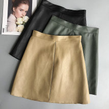 skirt Fall of 2018 S M L XL 2XL 3XL Khaki Green Black Short skirt Commuting High waist A-line skirt Pure color Type A 25-29 years old other above 95 PU