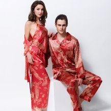 Pajamas / housewear set lovers Tiffany M L XL XXL XXXL [red] women's 3398 four piece set [red] women's 1398 two piece dress set [jujube] 3399 men's long sleeve suit [jujube] 1399 men's long sleeve Nightgown Polyester (polyester) Long sleeves sexy Leisure home autumn Thin money Small lapel Solid color