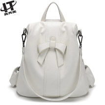 Backpack cowhide LT White black camel lotus brand new in zipper leisure time Double root European and American fashion soft middle age yes Soft handle Solid color Yes female All waterproof Vertical square Net bag zipper hidden bag mobile phone bag certificate bag sandwich zipper bag polyester fiber