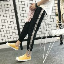 Casual pants Others Youth fashion Silver belt pants [super handsome version] yellow belt pants [super handsome version] S M L XL 2XL routine Ninth pants Other leisure Self cultivation Micro bomb summer youth tide 2018 middle-waisted Little feet Haren pants Sticking cloth washing Solid color