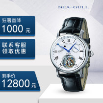 Wristwatch Seagull Watch National joint guarantee Mechanical movement male other domestic 5ATM Fine steel Synthetic sapphire watch mirror 11mm 40mm white circular leisure time Pointer type brand new Butterfly double button To the bottom ordinary other China Tourbillon  yes Flywheel series